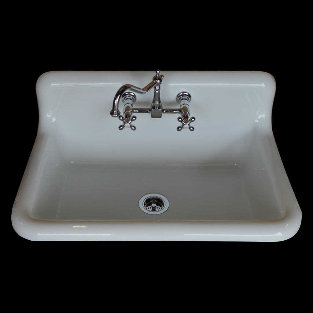 Single Basin High Back Sink W/Faucet & Drain Basket Bundle - Model ...