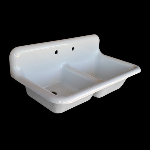 large double basin high back farmhouse style sink with