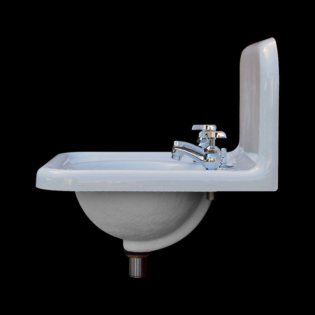 nbi vintage reproduction bathroom sink model bs2018 side view